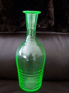 Pitcher Carafe Vase Jar Green Depression Glass Vasoline Decanter Ribbed Glass