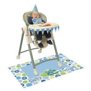 1st Happy Birthday Party Green Blue Boys Turtle 1 High Chair Kit Bib Banner