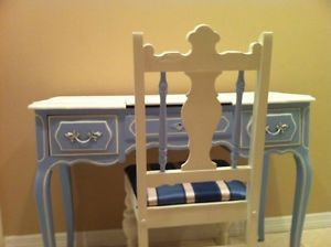 Antique Hand Painted French Style Vanity with Chair Henry Link Collection