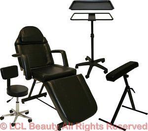 Tattoo Package Massage Chair Table Bed Arm Bar Rest Black Tray Salon Equipment