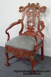 Charles Pollock Reproductions Chinese Imperial Red Gold Chinoiserie Arm Chair