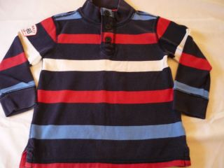Toddler Boys Clothes 4T Gap Nautical Blue Striped Long Sleeve Shirt Top GUC