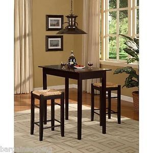 New 3 Piece Pub Table 2 Chairs Dining Set Kitchen Island Espresso Brown Walnut