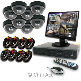 8CH H 264 CCTV DVR Sony CCD Cameras Indoor Plastic Security System Network 500GB