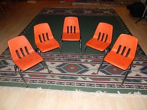 Vintage Virco Orange Plastic Metal Industrial Chairs Children's School Preschool