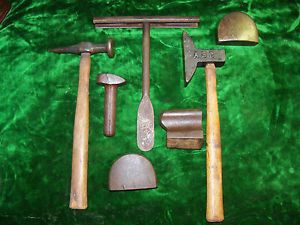 Lot of 7 Vintage Auto Body Tools 2 ABC Hammers Dollies Metal Shaping Dolly