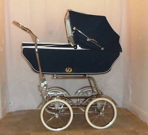 Vtg Wonda Chair Convertable Baby Carriage Stroller Buggy Pram Navy Blue Babyhood