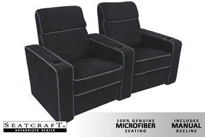 Seatcraft Lorenzo Home Theater Seating 2 Manual Seats Black Chairs Curved Row