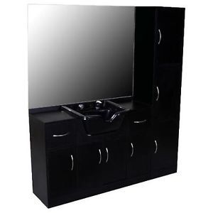 New Black Salon Shampoo Station Storage Package Su 33BP