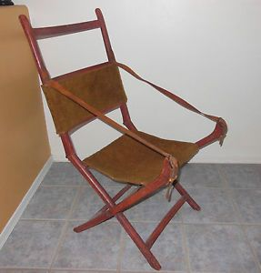 Antique Campaign Chair Solid Wood Belting Leather Straps Portable Civil War Era