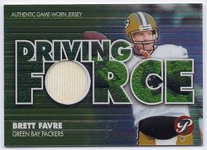 2002 Brett Favre Topps Pristine Driving Force Jersey Card DFBF Farve Packers