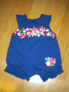 "Baby Connection Infant Girl Navy Flower ""Aloha"" Romper Size Newborn 0 3 Months"