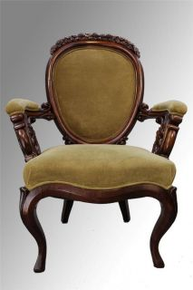 16108 Antique Unbelievable Civil War Era Carved Gentleman's Chair