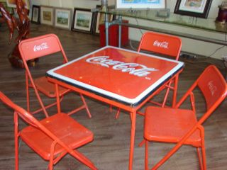 Vintage 1950's Coca Cola Porcelain Metal Table and Chairs Sooo Awesome