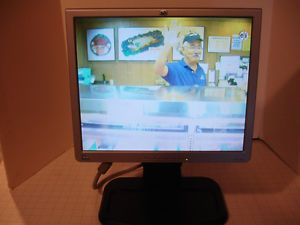 "HP 1740 DVI 17"" LCD Monitor w DVI VGA Cords Power Cable Free Web Cam"