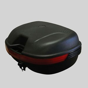 Double Space Black Motorcycle Scooter Top Case Moped Dual Sport Trunk for Travel