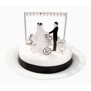 Monochrome Magic Black White Wedding Party Card Cake Toppers Decorations