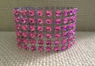 200 Pink Rhinestone Bling Wedding Napkin Rings or Chair Sash Decoration 6 Rows