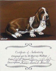 Original ACEO Basset Hound Portrait Dog Valentines Day Gift Painting Walkup NR