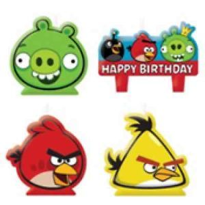 4pc Angry Birds Birthday Candles Cake Toppers Set Birthday Party Supplies