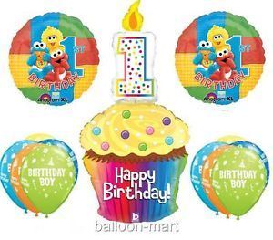 1st Baby Sesame Street Balloons First Birthday Party Supplies Cupcake Candle XL