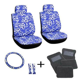13pc Blue Hawaii Front Bucket Van Seat Covers Set Wheel Belt Gray Floor Mats