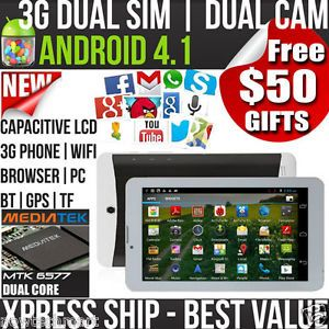 "7"" 3G Dual Sim Android Smart Phone Tablet Dual Core MTK6577 1GHz CPU $50GIFTS"