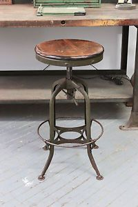 Vintage Industrial Toledo Uhl Draftsman Stool Machine Age Chair 1930s Green