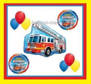 Red Fire Truck Balloons Kit Happy Birthday Party Decorations Supplies Engine Boy