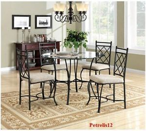 Modern Kitchen Dining Black Metal Glass Table Set Matching Upholstered Chairs