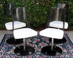Set of 4 Mid Century Modern 1971 Daystrom Lucite Chrome Swivel Dining Chairs
