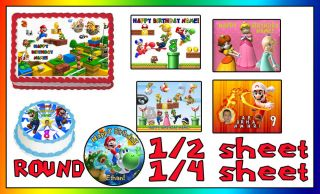 Super Mario Bros Birthday Cake Topper Edible Icing Image Photo Sheet Sugar Luigi