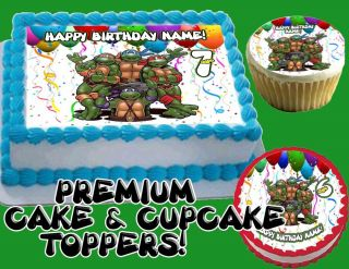 Teenage Mutant Ninja Turtles Edible Cake Cupcakes Topper Image Sheet Mutan Cup