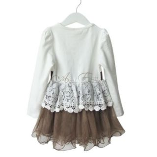Girls Kids Long Sleeve Lace Belt Party Tulle Dress Pageant Clothing Sz 3 4 5 6 7