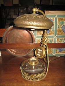 Antique European Brass Desk Lamp w Glass Ink Well Calendar w Repousse Shade
