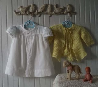 Shabby Vintage Antique Baby Child Doll Clothes Embroidered Dress Wool Sweater