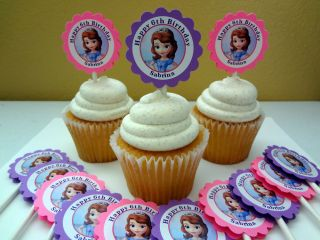30 Personalized Sofia The First Cupcake Toppers Birthday Party Favors