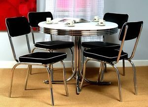 Round Dining Table 50's Retro Diner Kitchen Game Room 4 Black Chairs Chrome