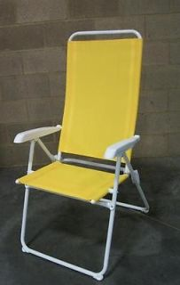Set 4 Yellow High Back Lounge Adjustable 5 Position Reclining Pool Beach Chairs