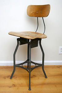 Industrial Age Uhl Toledo Drafting Stool Chair Green Metal Frame Adjustable