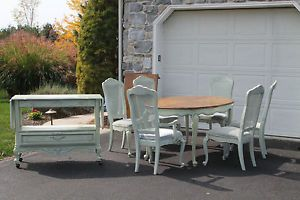 Beautiful Stanley Furniture Light Blue Green Dining Set with Matching Server