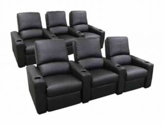 Seatcraft Eros Home Theater Seating 6 Black Seats Push Back Recliner Chairs