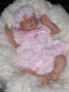 BNWTS Soo Sweet Baby Girls Pink Embroid 3PCE Dress Fit Preemie or Reborn