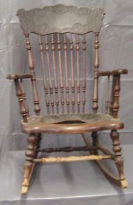 Antique Pressed Back Leather Seat Rocker Rocking Chair Art Nouveau Pattern