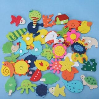 48pc Cartoon Baby Kid Toys Refrigerator Wooden Magnets