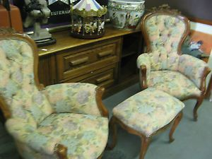 Antique Early Victorian Gentlemens Ornate Hand Carved Parlor Chairs Foot Stool