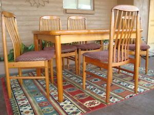 Vintage Mid Century Modern Dining Table Chairs 6 Pcs s MCM Set Ansager Denmark