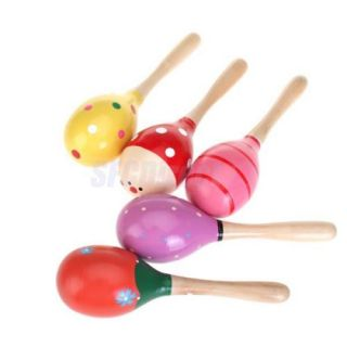 Wooden Maraca Rattles Kid Music Party Favor Baby Shaker Toy Musical Instrument