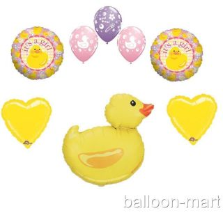Yellow Pink Balloons Girl Baby Shower Supplies Decoration Duck Duckie Set Lot XL