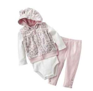 Carters Baby Girl Clothes 3 Piece Set Pink Gray Cat 3 6 9 12 18 24 Months